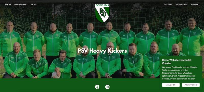 Die Heavy Kickers stellen auch eine schlagkräftige Website auf die Beine_Website