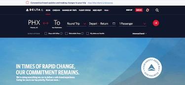 Die Homepage von Delta Airlines bietet Coronavirus-Informationen direkt auf der Startseite.