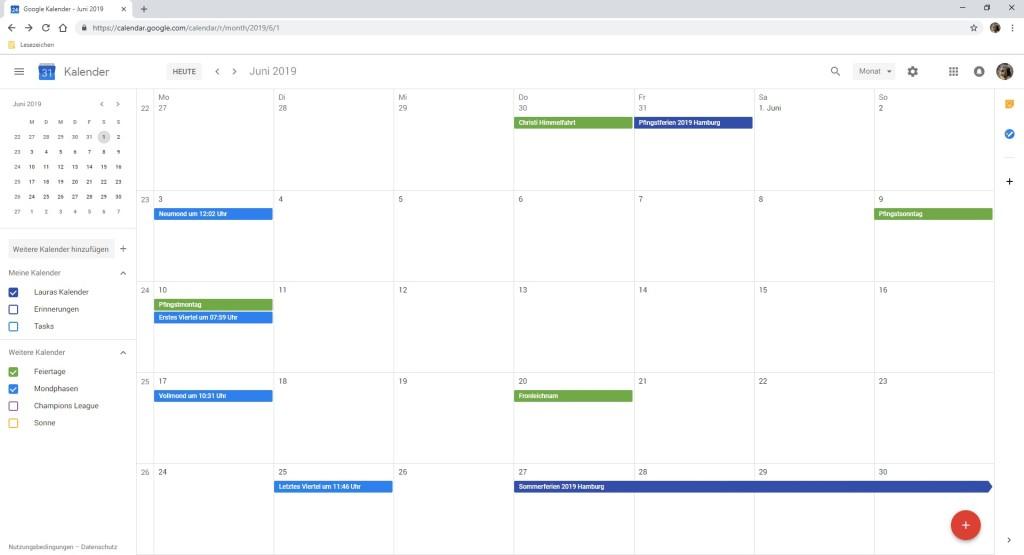 Google Produkte Kalender