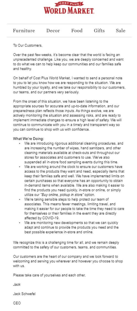 Mit dieser E-Mail hat CostPlus auf Bedenken seiner Kunden im Zusammenhang mit COVID-19 reagiert.