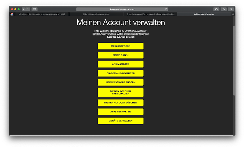 Snapchat Account löschen- So geht's richtig_Account löschen