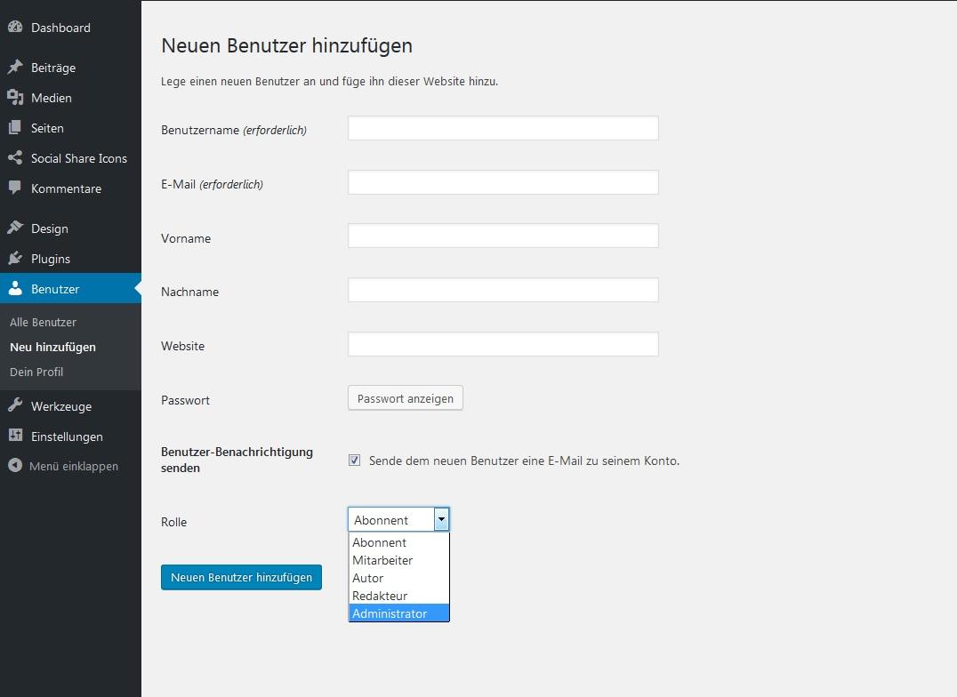 WordPress Login Rollen verteilen und Login-Bereich schützen_benutzer-hinzufuegen