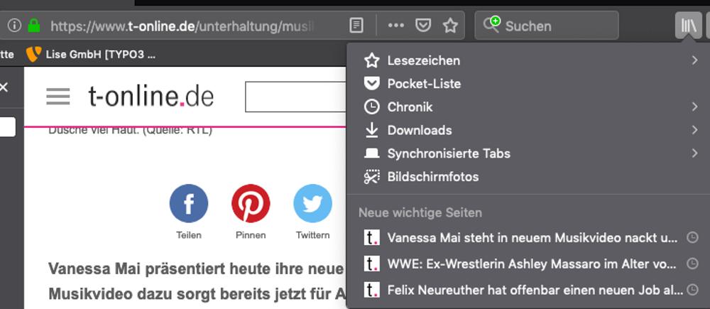 Abbildung 1 - Den Cache leeren bei Mozilla Firefox