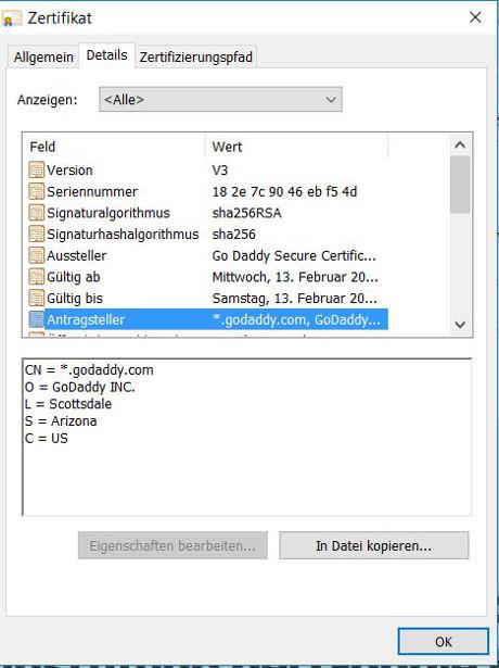 Abbildung - Informationen über das SSL-Zertifikat - Details