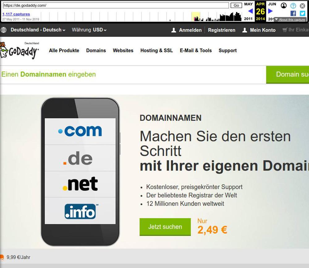 Abbildung 3: Startseite von GoDaddy im April 2014