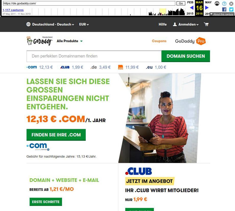 Abbildung 4: Startseite GoDaddy im März 2016