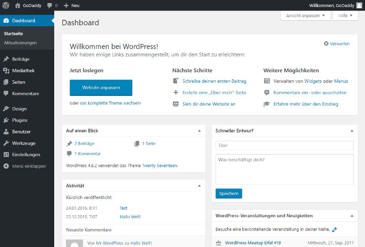 Abbildung 1 - WordPress-Dashboard