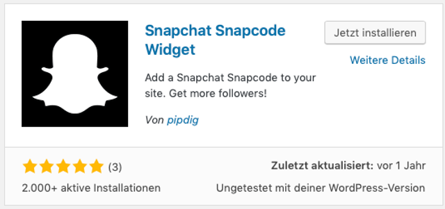 Abbildung 2 - Screenshot WordPress Snapcode Widget