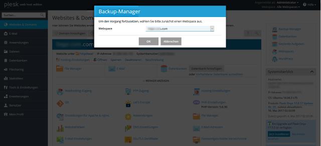 Abbildung - Backup Manager - Domainauswahl