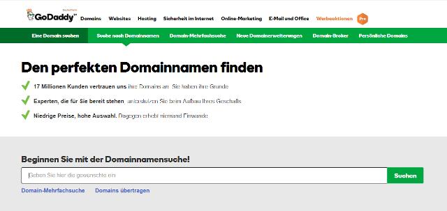 Abbildung - Domainnamensuche mit GoDaddy
