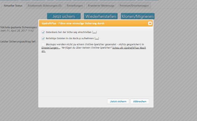 Abbildung - Konfiguration Ihrer WordPress-Sicherung