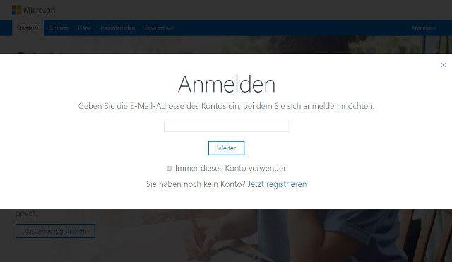 Abbildung-Login-OneDrive