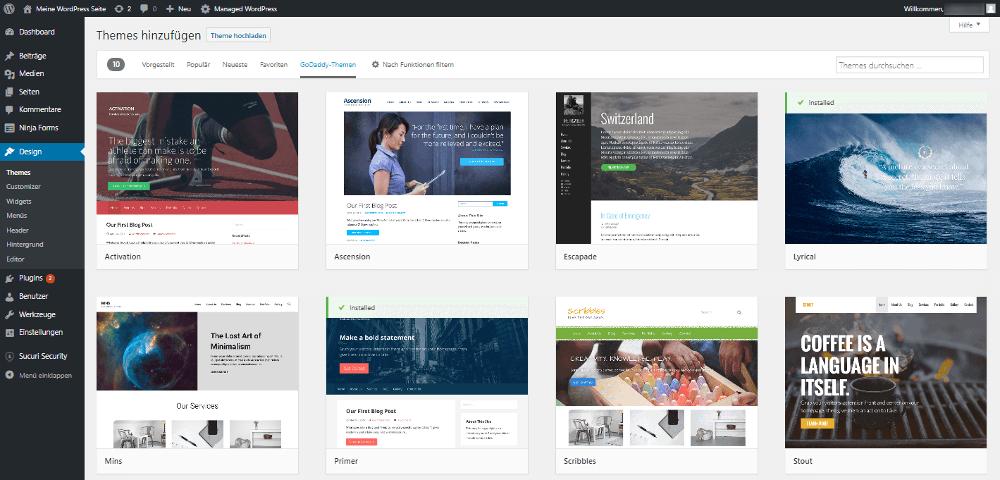 Abbildung - Kostenlose WordPress Blog Themes beim Kauf eines Managed-WordPress-Produkts von GoDaddy