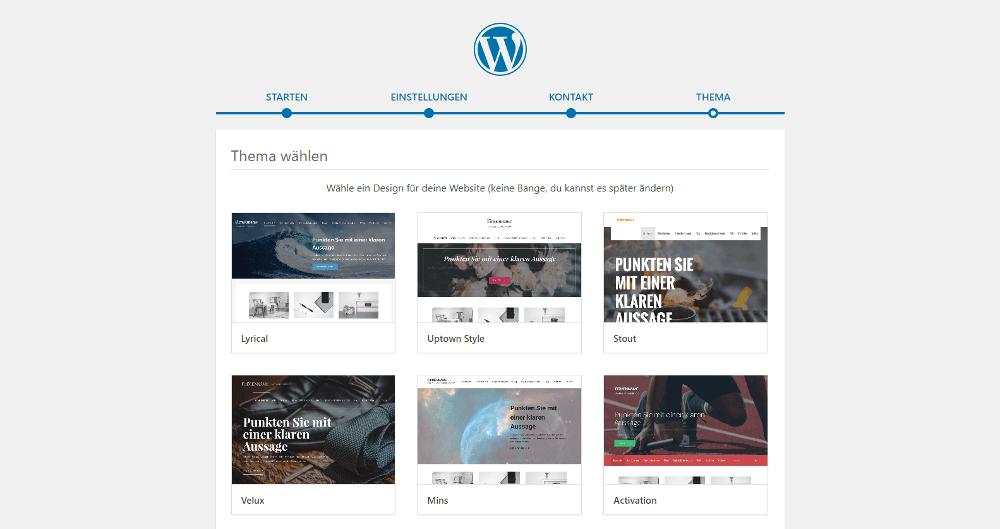 Abbildung - Managed-WordPress-Blog-Theme bei der Einrichtung wählen