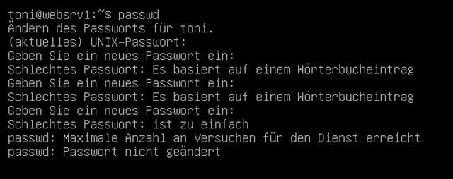 Abbildung - Optimiere die Passwortsicherheit - Warnhinweis - unsicheres Passwort