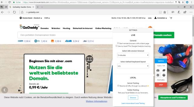 Abbildung - Testsettings BrowserStack