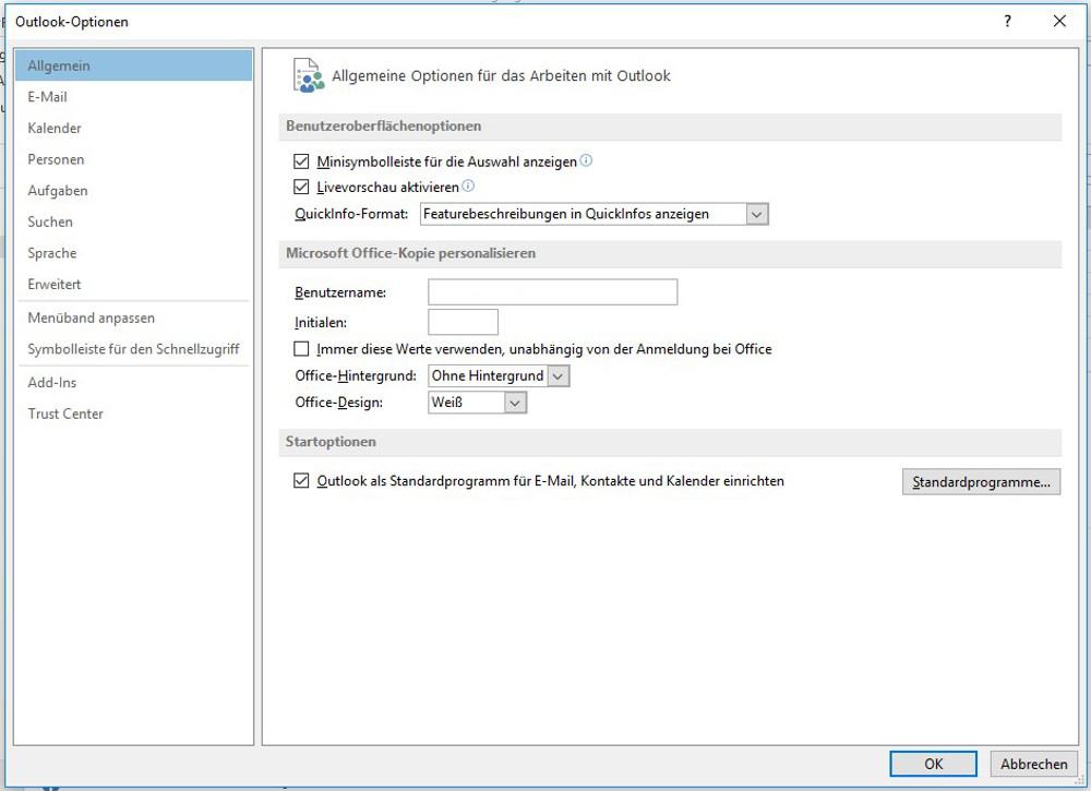 Abbildung04 - Outlook Optionen