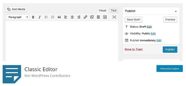Abbildung - Der WordPress Classic-Editor als Plugin