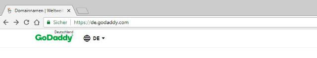 Abbildung - GoDaddy Webseite - Browserzeile mit HTTPS Seitenaufruf