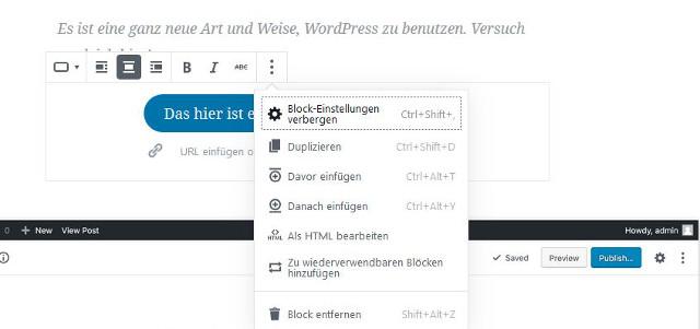 Abbildung - Musterblock im Gutenberg Editor
