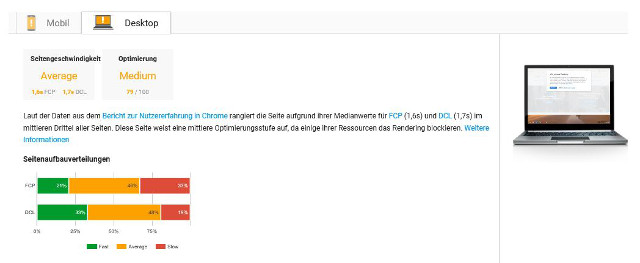 Abbildung - Analyseergebnis von Pagespeed Insights für die Desktop-Suche