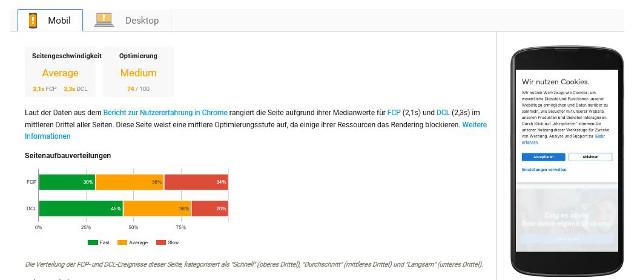Abbildung - Analyseergebnis von Pagespeed Insights für die mobile Suche