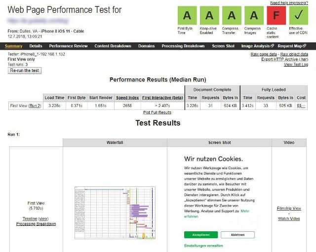 Abbildung - WebPageTest - Die Resultate für mobile Seitenaufrufe