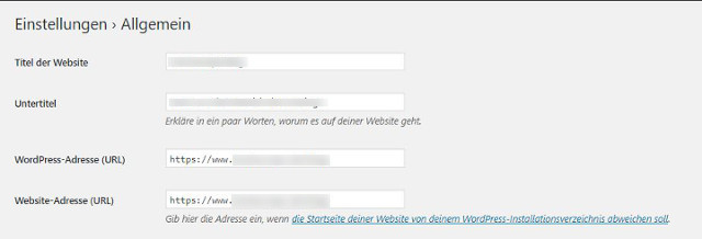 Abbildung - WordPress Allgemeine Einstellungen Umstellung der URL von HTTP auf HTTPS