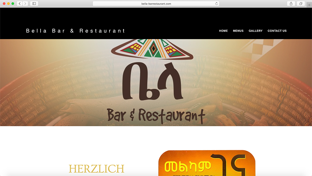 Bella Bar & Restaurant Website