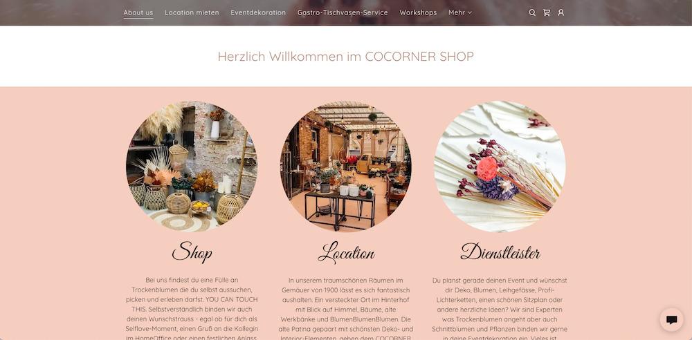 COCORNER SHOP_Von der Dried Flower Bar zum eigenen Online-Shop_Website