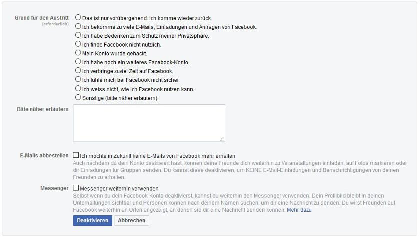 Facebook-Account löschen Abbildung 2