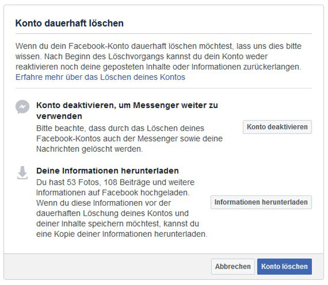 Facebook-Account löschen Abbildung 4