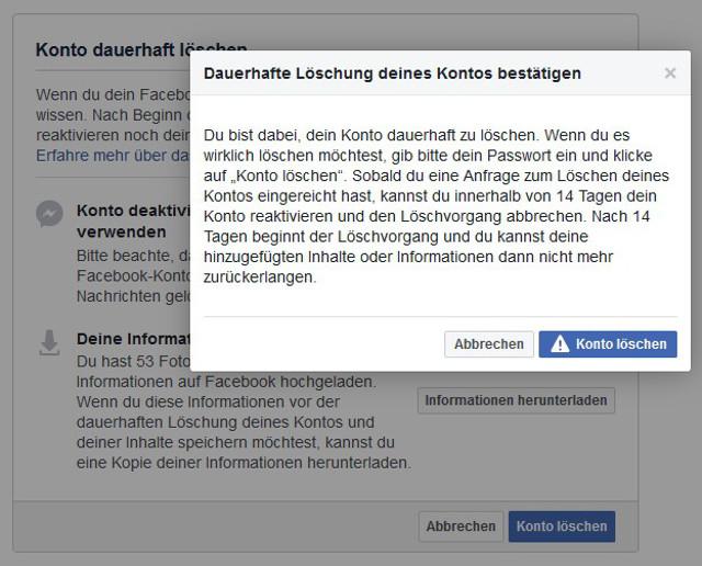 Facebook-Account löschen Abbildung 5