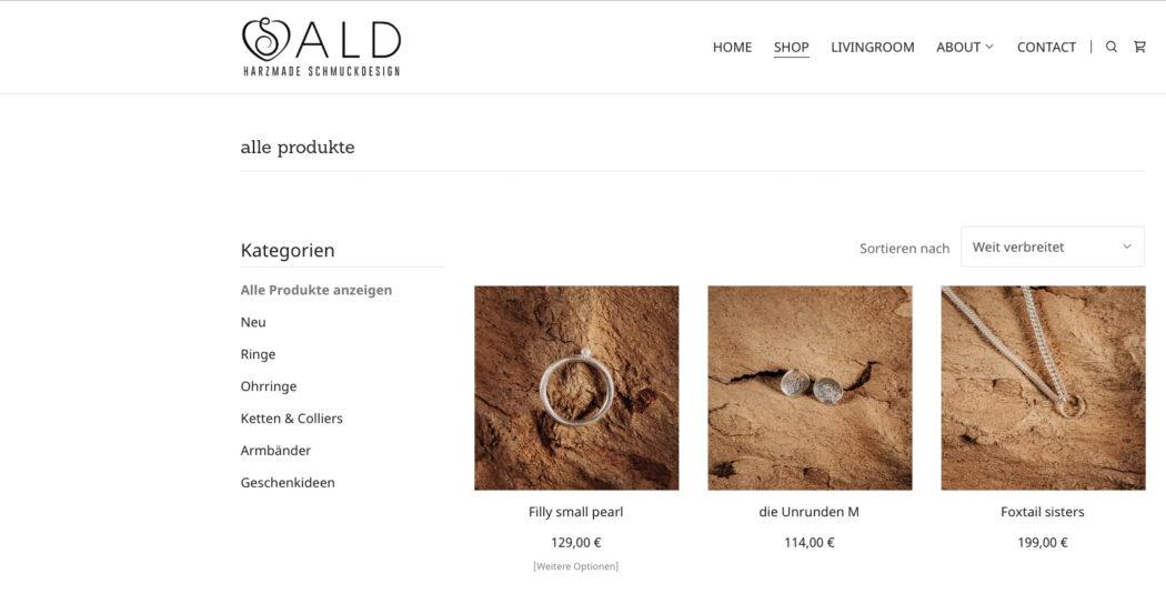 SALD harzmade Schmuckdesign- GoDaddy unterstützt beim Upcycling_SALD Website