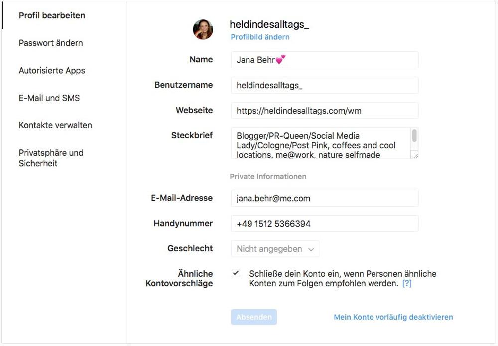 Instagram-Account löschen Abbildung-2 - Profilangaben im Dashboard von Instagram