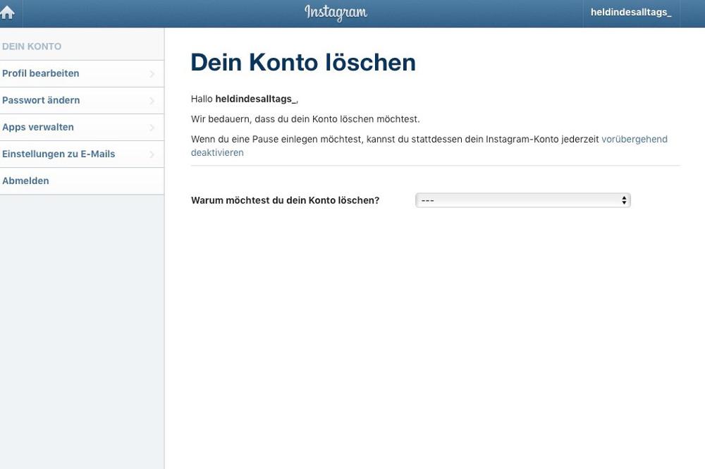 Instagram-Account löschen Abbildung-4 - Dein Konto löschen