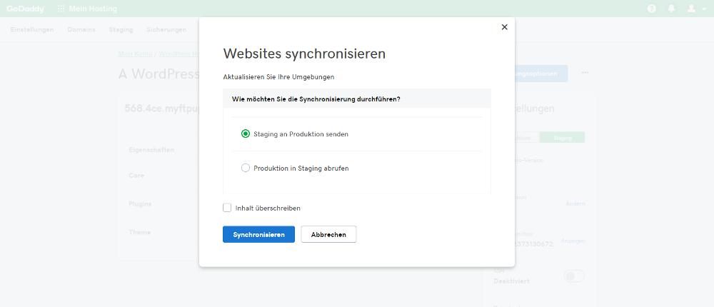 Abbildung - einfache Synchronisation von WordPress Webseite und WordPress-Staging-Umgebung