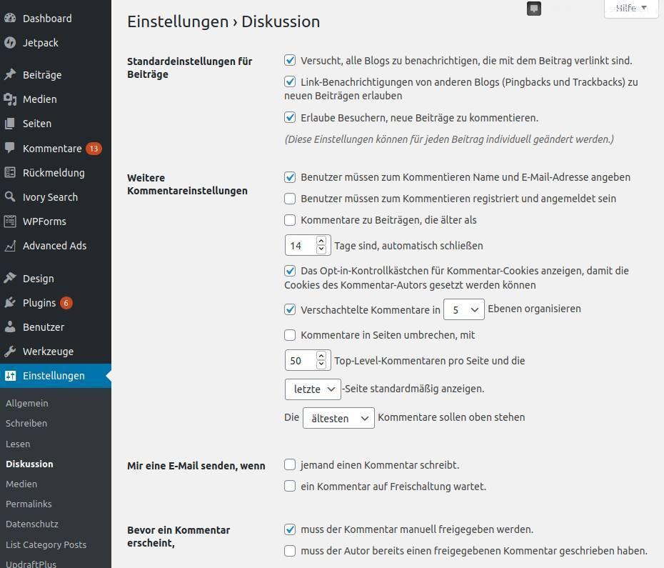 WordPress-Kommentarfunktion-deaktivieren-einstellungen