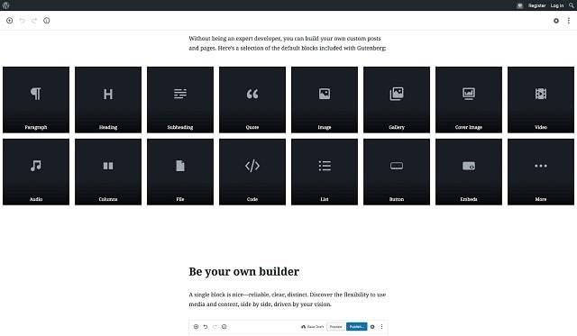 WordPress Update für Websites kleiner Unternehmen Gutenberg Editor