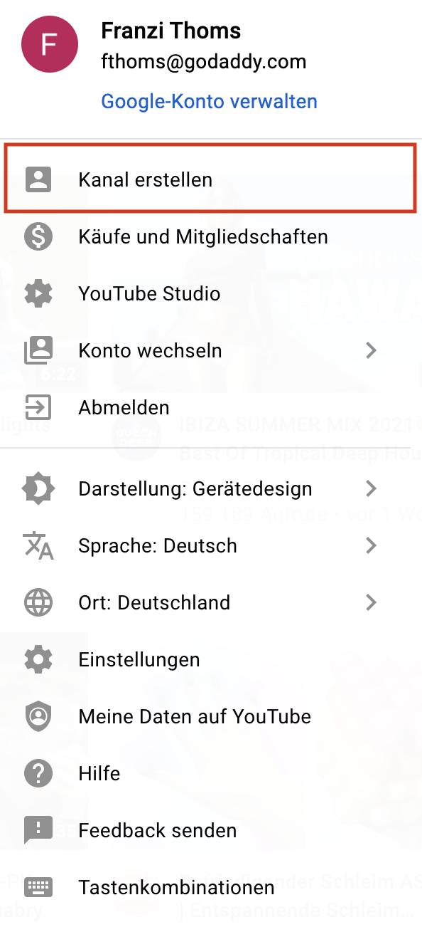 YouTube für Unternehmen_So erstellst du einen Kanal richtig_Dropdown