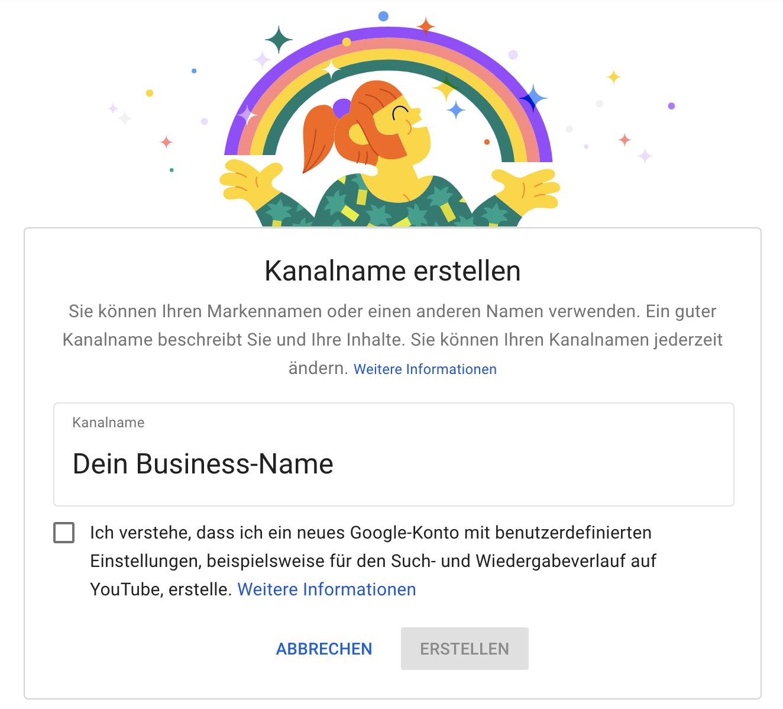 YouTube für Unternehmen_So erstellst du einen Kanal richtig_Kanalname