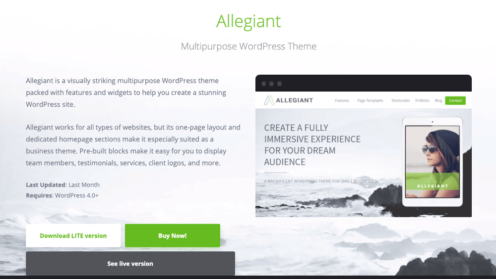 Abbildung - WordPress-Blog-Theme - Allegiant