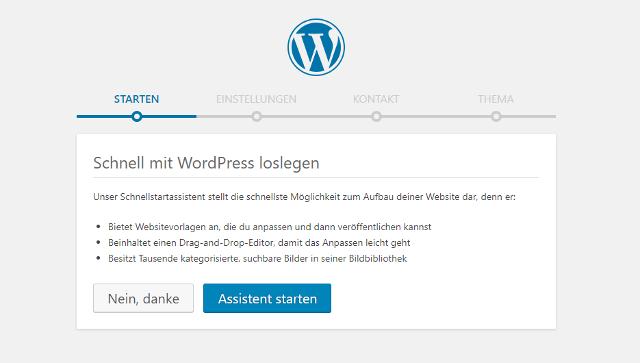 Abbildung - Einrichtungs-Assistent für die Erstellung einer neuen WordPress-Webseite