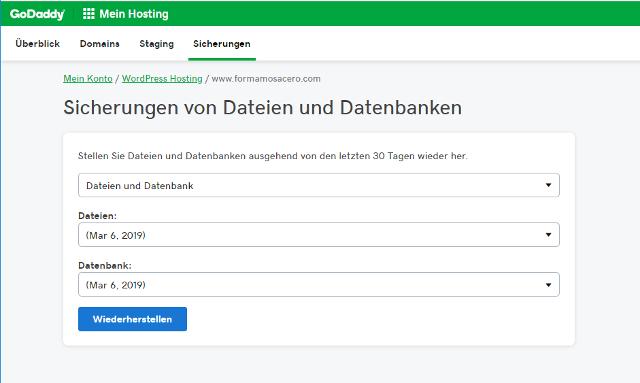 Abbildung - WordPress-Backup Management