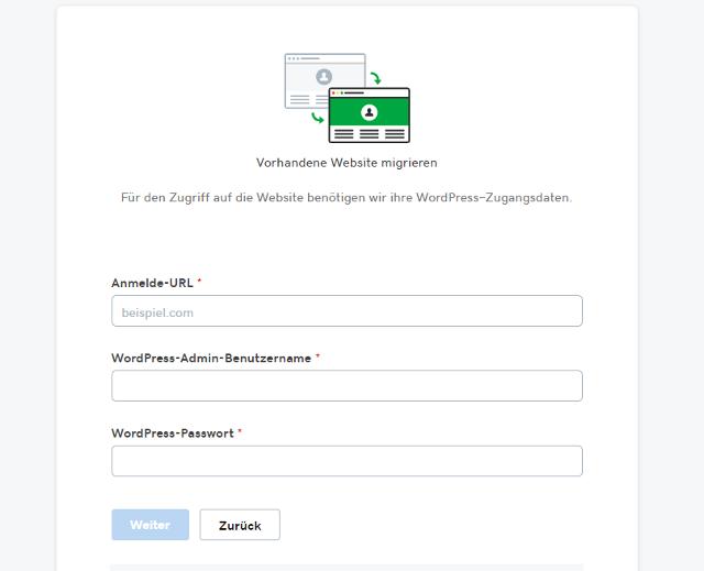 Abbildung - Automatische WordPress Migration - Einstellungen und Umzugsdetails
