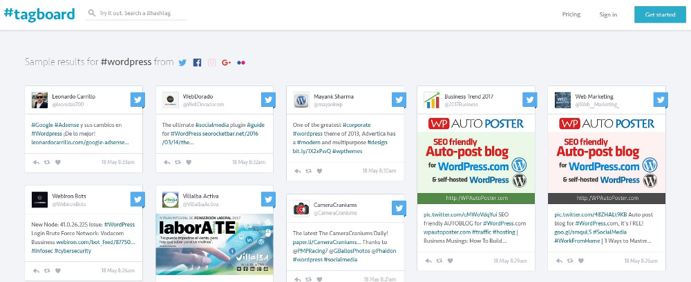 Hashtag Recherche Tagboard