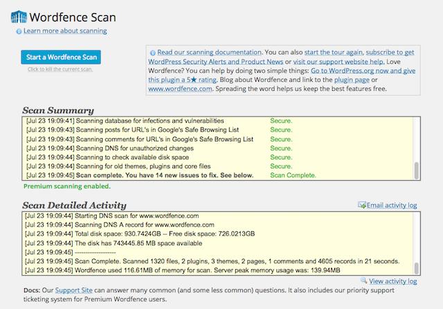 Website Sicherheitsüberprüfungen Wordfence Plugin